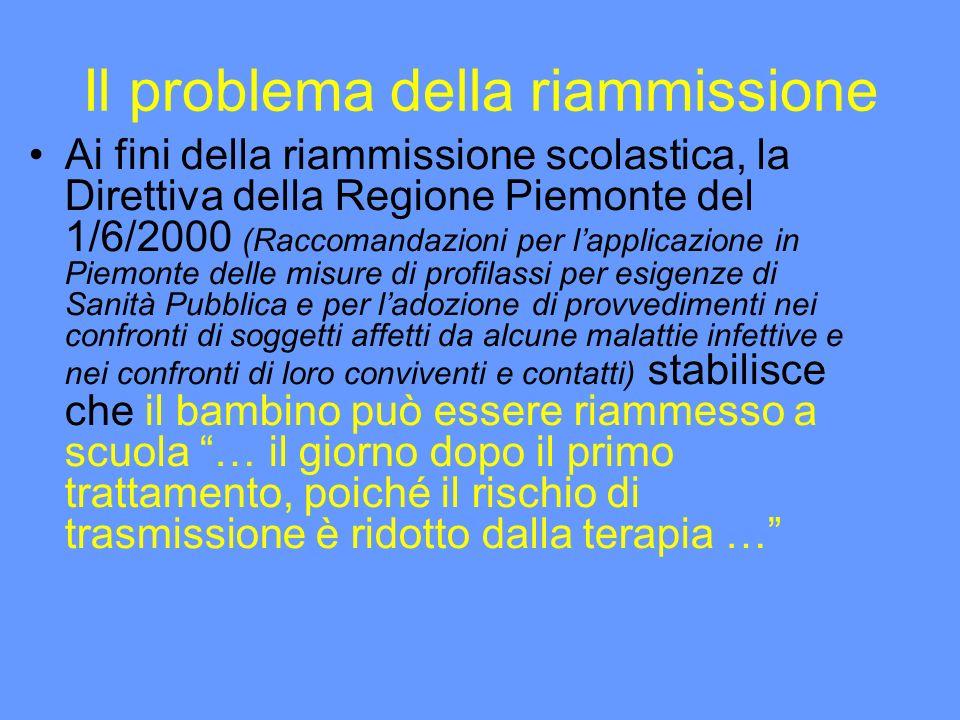 Il problema della riammissione Ai fini della riammissione scolastica, la Direttiva della Regione Piemonte del 1/6/2000 (Raccomandazioni per lapplicazi