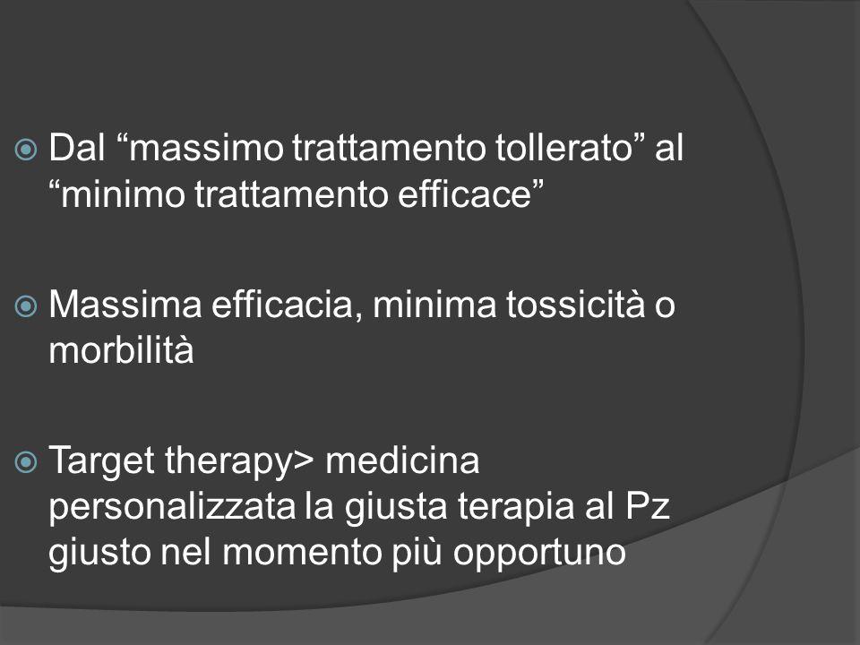 Dal massimo trattamento tollerato al minimo trattamento efficace Massima efficacia, minima tossicità o morbilità Target therapy> medicina personalizza