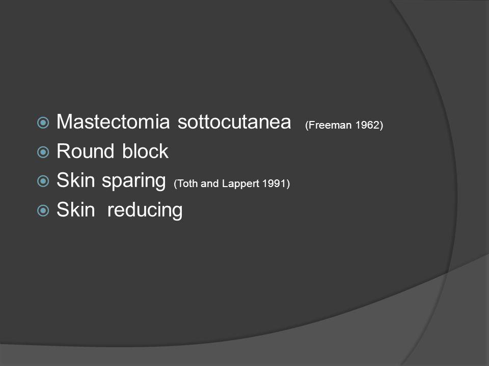 Mastectomia sottocutanea (Freeman 1962) Round block Skin sparing (Toth and Lappert 1991) Skin reducing
