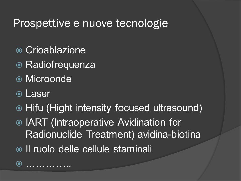 Prospettive e nuove tecnologie Crioablazione Radiofrequenza Microonde Laser Hifu (Hight intensity focused ultrasound) IART (Intraoperative Avidination