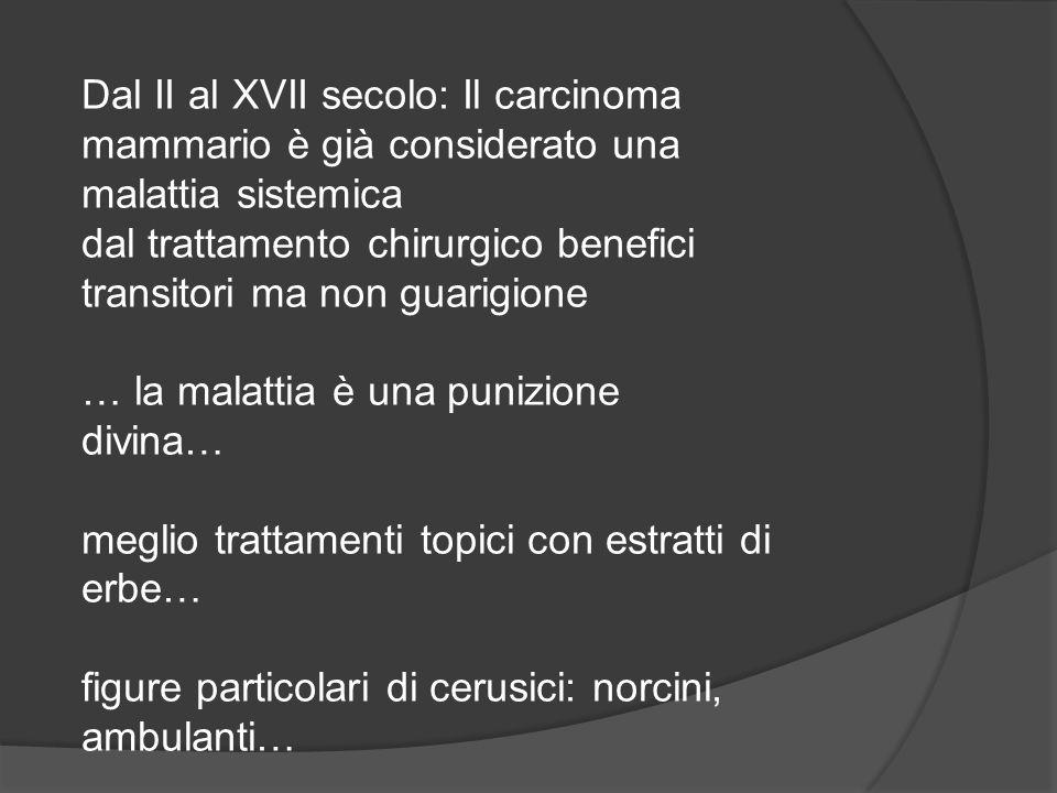 Dal II al XVII secolo: Il carcinoma mammario è già considerato una malattia sistemica dal trattamento chirurgico benefici transitori ma non guarigione