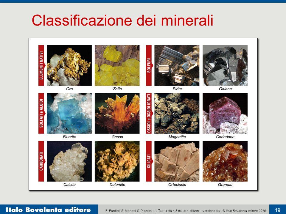 F. Fantini, S. Monesi, S. Piazzini - la Terra età 4,5 miliardi di anni – versione blu - © Italo Bovolenta editore 2010 19 Classificazione dei minerali