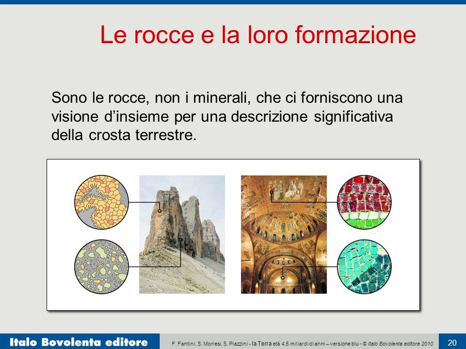 F. Fantini, S. Monesi, S. Piazzini - la Terra età 4,5 miliardi di anni – versione blu - © Italo Bovolenta editore 2010 20 Sono le rocce, non i mineral