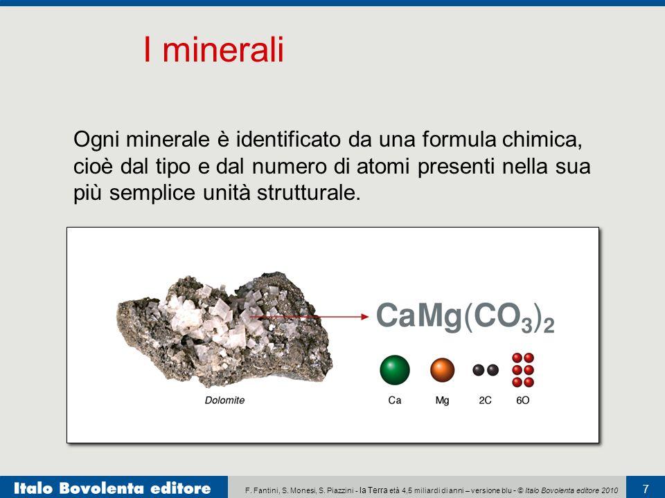 F. Fantini, S. Monesi, S. Piazzini - la Terra età 4,5 miliardi di anni – versione blu - © Italo Bovolenta editore 2010 7 Ogni minerale è identificato