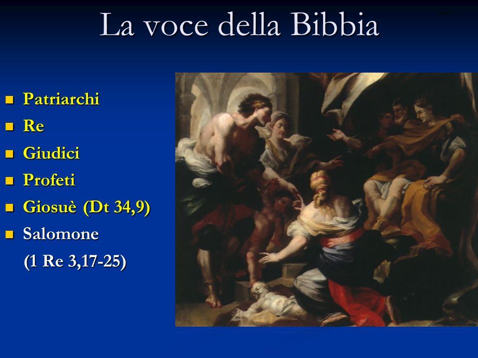La voce della Bibbia Patriarchi Patriarchi Re Re Giudici Giudici Profeti Profeti Giosuè (Dt 34,9) Giosuè (Dt 34,9) Salomone Salomone (1 Re 3,17-25) (1