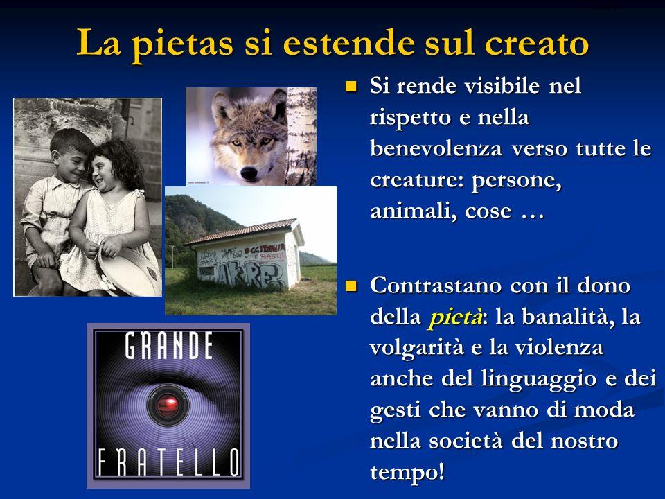 La pietas si estende sul creato Si rende visibile nel rispetto e nella benevolenza verso tutte le creature: persone, animali, cose … Si rende visibile