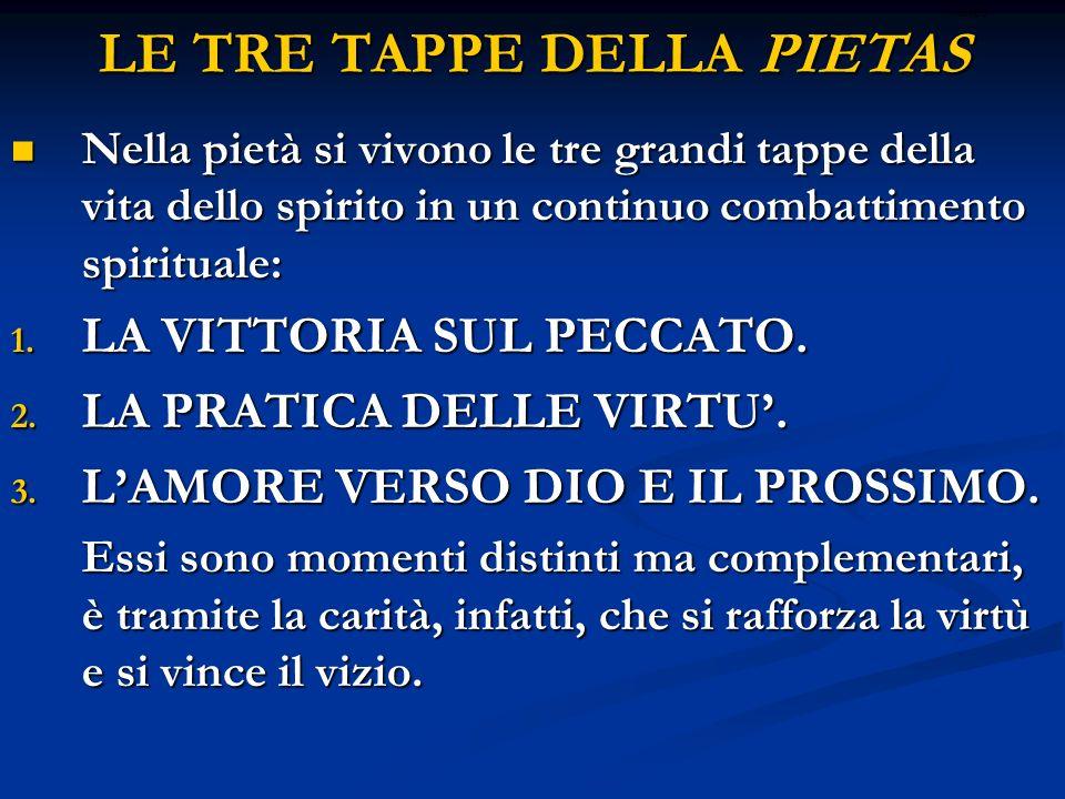 LE TRE TAPPE DELLA PIETAS Nella pietà si vivono le tre grandi tappe della vita dello spirito in un continuo combattimento spirituale: Nella pietà si v
