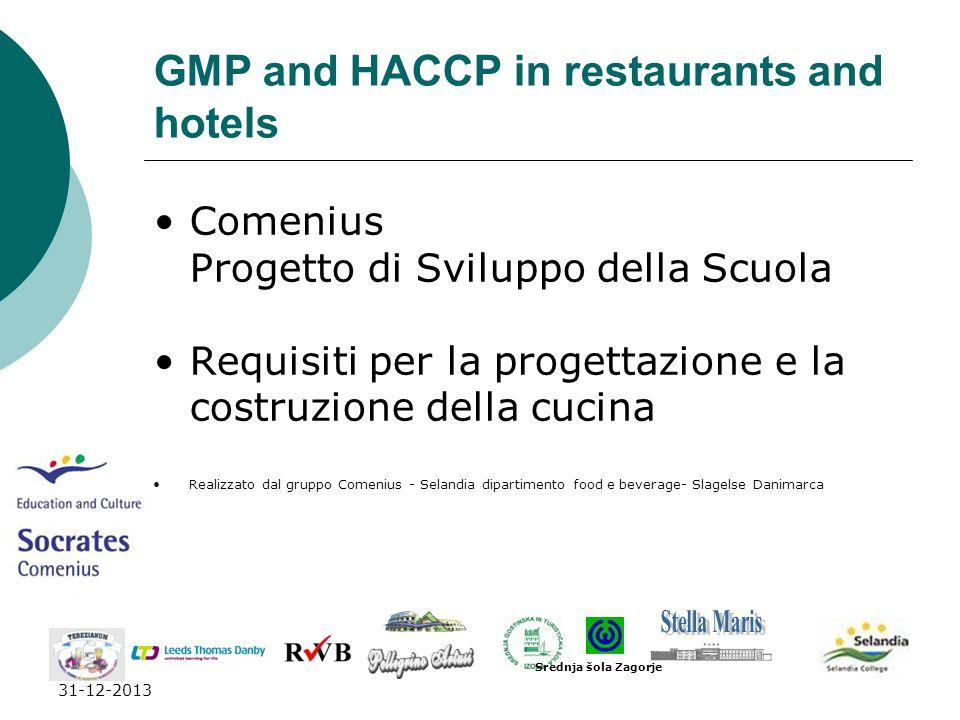 31-12-2013 GMP and HACCP in restaurants and hotels Comenius Progetto di Sviluppo della Scuola Requisiti per la progettazione e la costruzione della cu