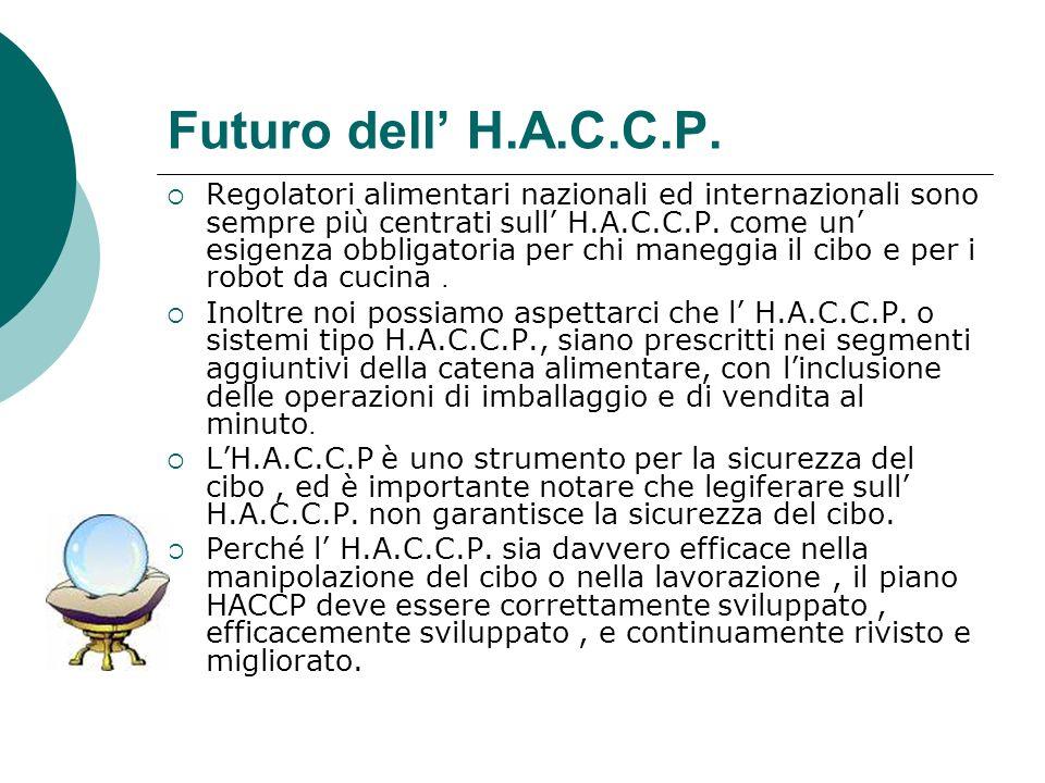 Futuro dell H.A.C.C.P. Regolatori alimentari nazionali ed internazionali sono sempre più centrati sull H.A.C.C.P. come un esigenza obbligatoria per ch