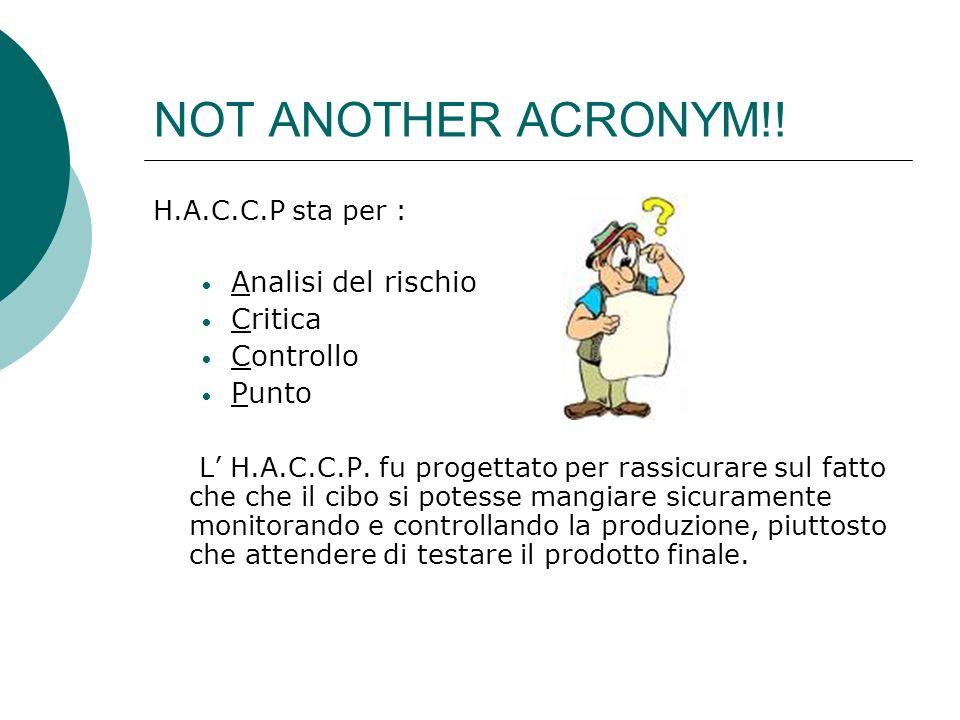 NOT ANOTHER ACRONYM!! H.A.C.C.P sta per : Analisi del rischio Critica Controllo Punto L H.A.C.C.P. fu progettato per rassicurare sul fatto che che il