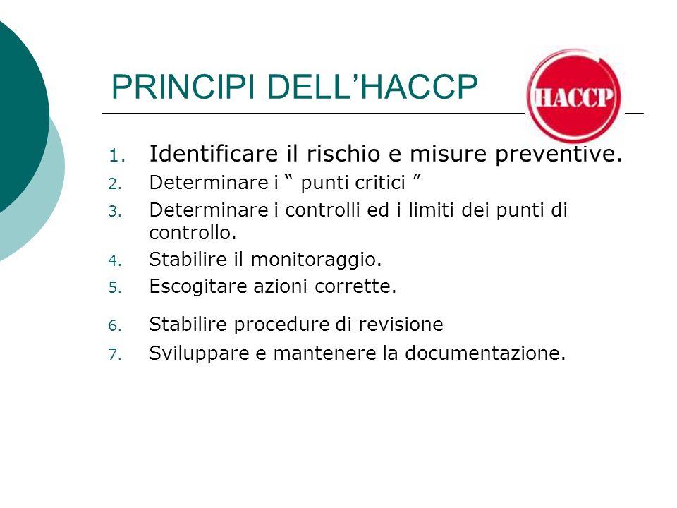PRINCIPI DELLHACCP 1. Identificare il rischio e misure preventive. 2. Determinare i punti critici 3. Determinare i controlli ed i limiti dei punti di