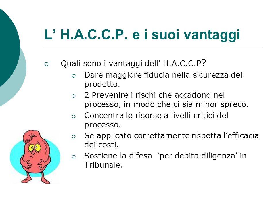 L H.A.C.C.P. e i suoi vantaggi Quali sono i vantaggi dell H.A.C.C.P ? Dare maggiore fiducia nella sicurezza del prodotto. 2 Prevenire i rischi che acc
