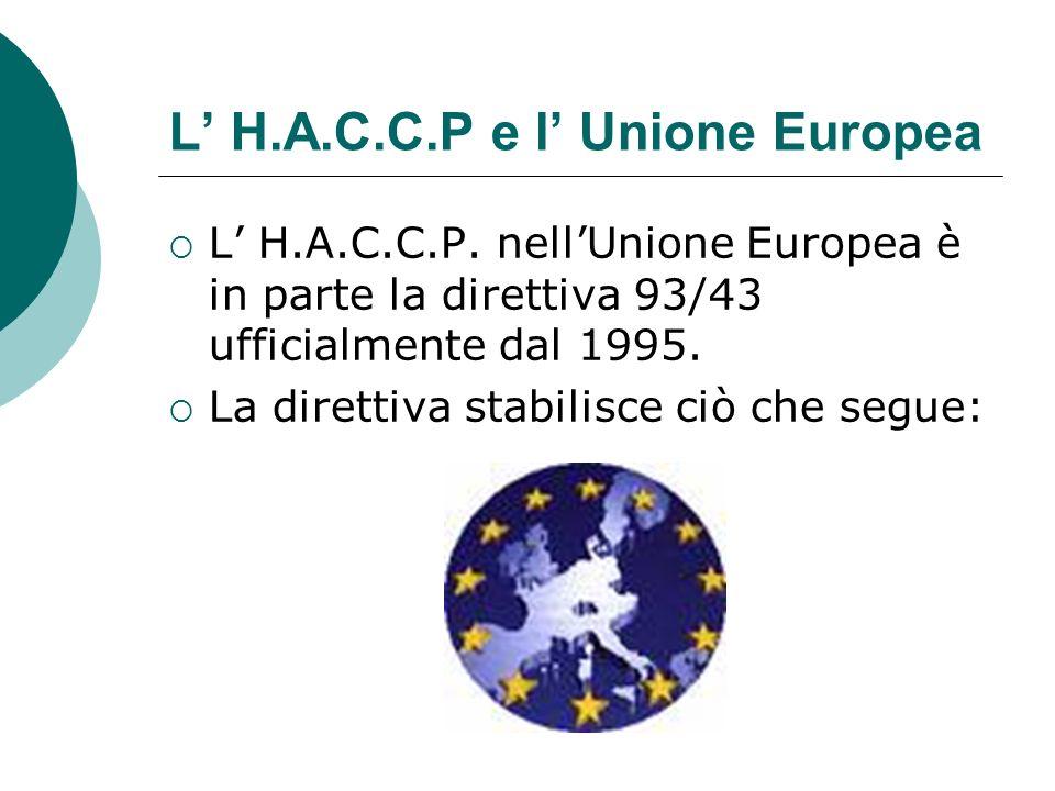 L H.A.C.C.P e l Unione Europea L H.A.C.C.P. nellUnione Europea è in parte la direttiva 93/43 ufficialmente dal 1995. La direttiva stabilisce ciò che s