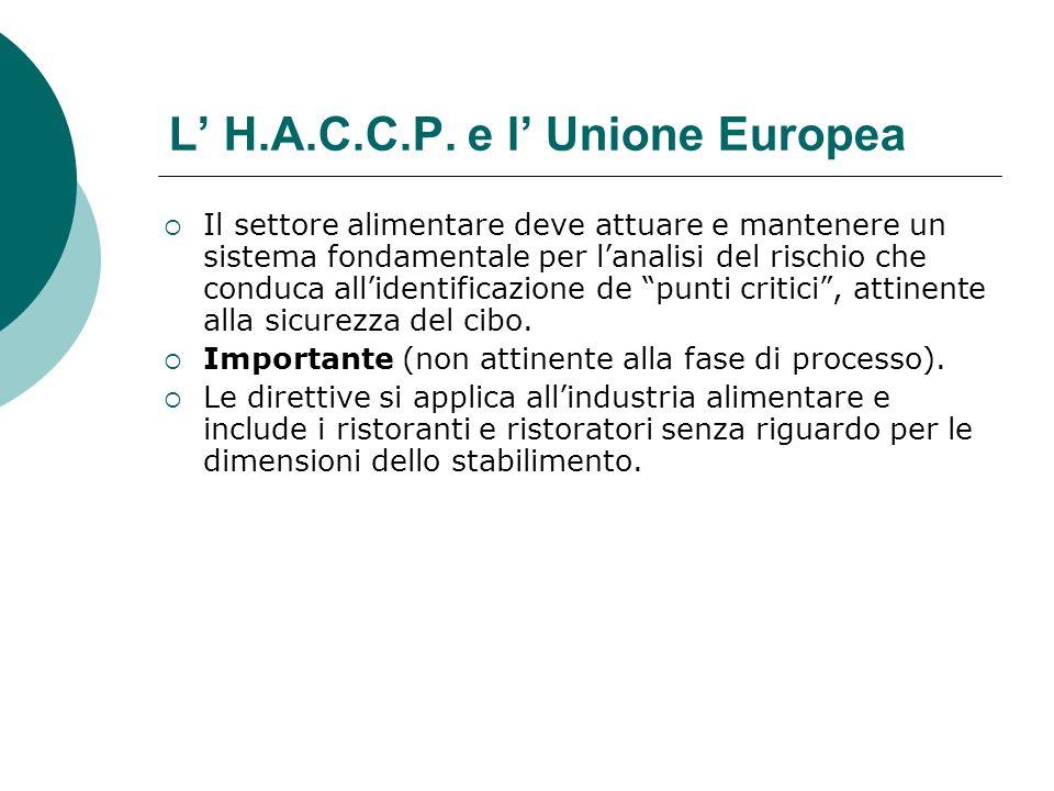 L H.A.C.C.P. e l Unione Europea Il settore alimentare deve attuare e mantenere un sistema fondamentale per lanalisi del rischio che conduca allidentif
