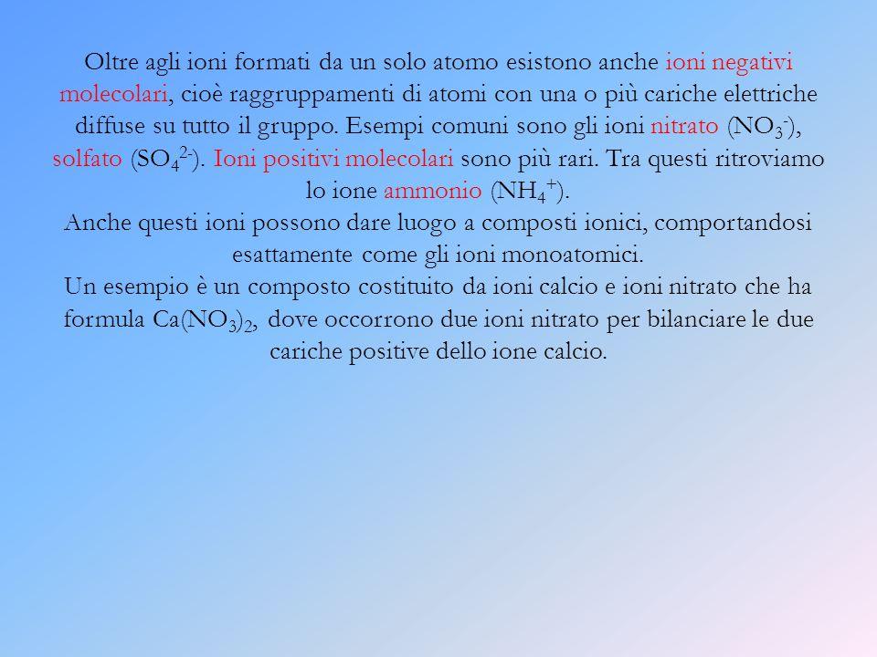 Oltre agli ioni formati da un solo atomo esistono anche ioni negativi molecolari, cioè raggruppamenti di atomi con una o più cariche elettriche diffus