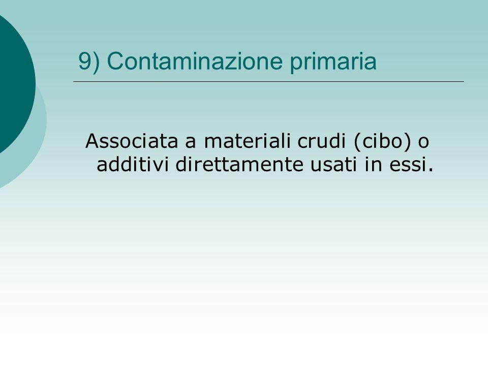 9) Contaminazione primaria Associata a materiali crudi (cibo) o additivi direttamente usati in essi.