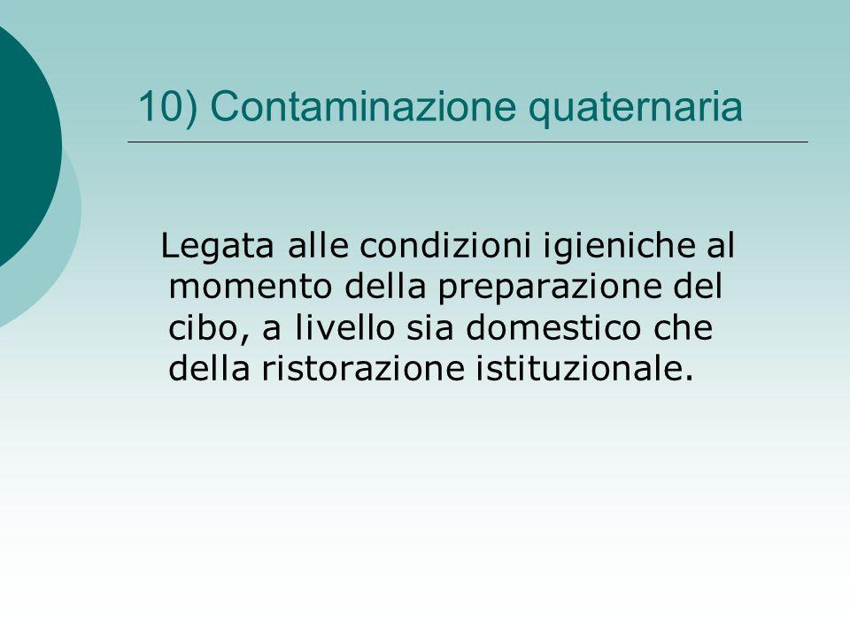 10) Contaminazione quaternaria Legata alle condizioni igieniche al momento della preparazione del cibo, a livello sia domestico che della ristorazione