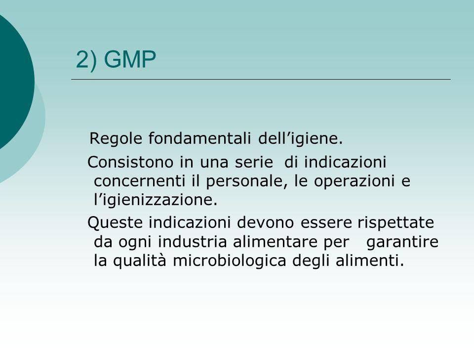 2) GMP Regole fondamentali delligiene. Consistono in una serie di indicazioni concernenti il personale, le operazioni e ligienizzazione. Queste indica