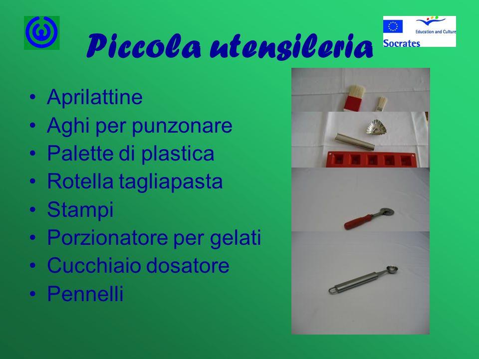 Piccola utensileria Aprilattine Aghi per punzonare Palette di plastica Rotella tagliapasta Stampi Porzionatore per gelati Cucchiaio dosatore Pennelli