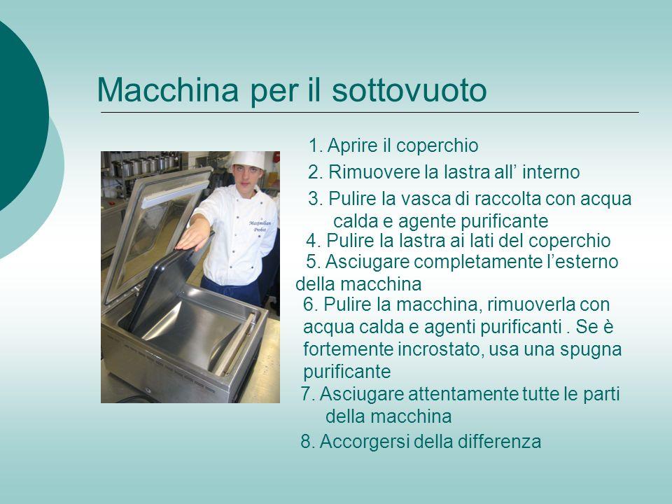 Macchina per il sottovuoto 1. Aprire il coperchio 2. Rimuovere la lastra all interno 3. Pulire la vasca di raccolta con acqua calda e agente purifican