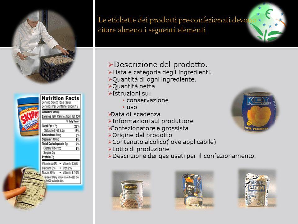 Descrizione del prodotto. Lista e categoria degli ingredienti. Quantità di ogni ingrediente. Quantità netta Istruzioni su: conservazione uso Data di s