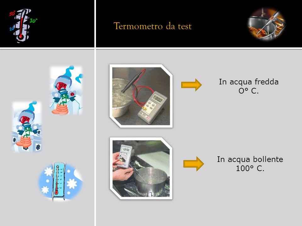 In acqua fredda O° C. In acqua bollente 100° C. Termometro da test
