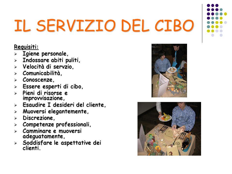 IL SERVIZIO DEL CIBO Requisiti: Igiene personale, Igiene personale, Indossare abiti puliti, Indossare abiti puliti, Velocità di servzio, Velocità di s