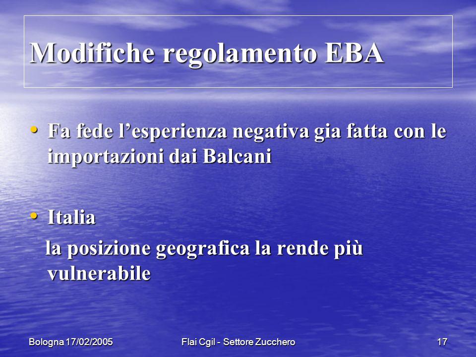 Bologna 17/02/2005Flai Cgil - Settore Zucchero17 Fa fede lesperienza negativa gia fatta con le importazioni dai Balcani Fa fede lesperienza negativa gia fatta con le importazioni dai Balcani Italia Italia la posizione geografica la rende più vulnerabile la posizione geografica la rende più vulnerabile Modifiche regolamento EBA