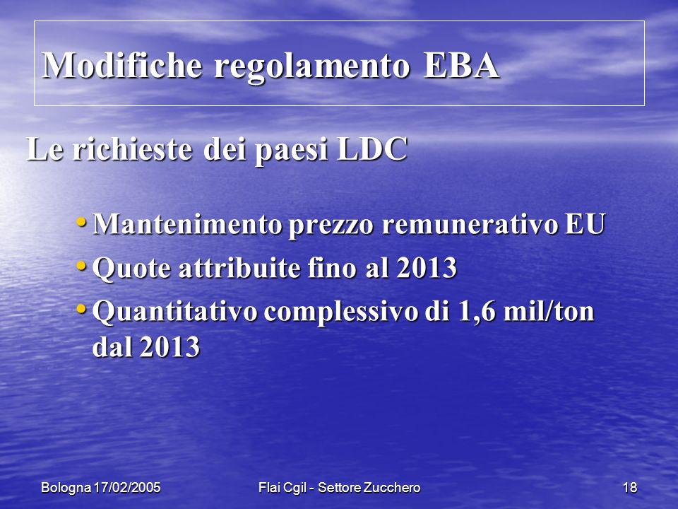 Bologna 17/02/2005Flai Cgil - Settore Zucchero18 Le richieste dei paesi LDC Mantenimento prezzo remunerativo EU Mantenimento prezzo remunerativo EU Quote attribuite fino al 2013 Quote attribuite fino al 2013 Quantitativo complessivo di 1,6 mil/ton dal 2013 Quantitativo complessivo di 1,6 mil/ton dal 2013 Modifiche regolamento EBA