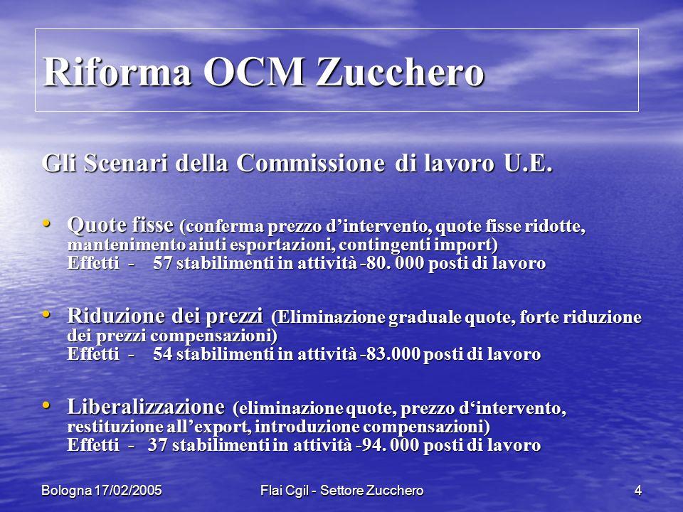 Bologna 17/02/2005Flai Cgil - Settore Zucchero15 Modifiche regolamento EBA Impatto sul mercato Impatto sul mercato Solo con la riduzione del 50% delle tariffe doganali si avrà un massiccio afflusso dai Paesi LCD Oggi previsto in 0,7 mil/ton.