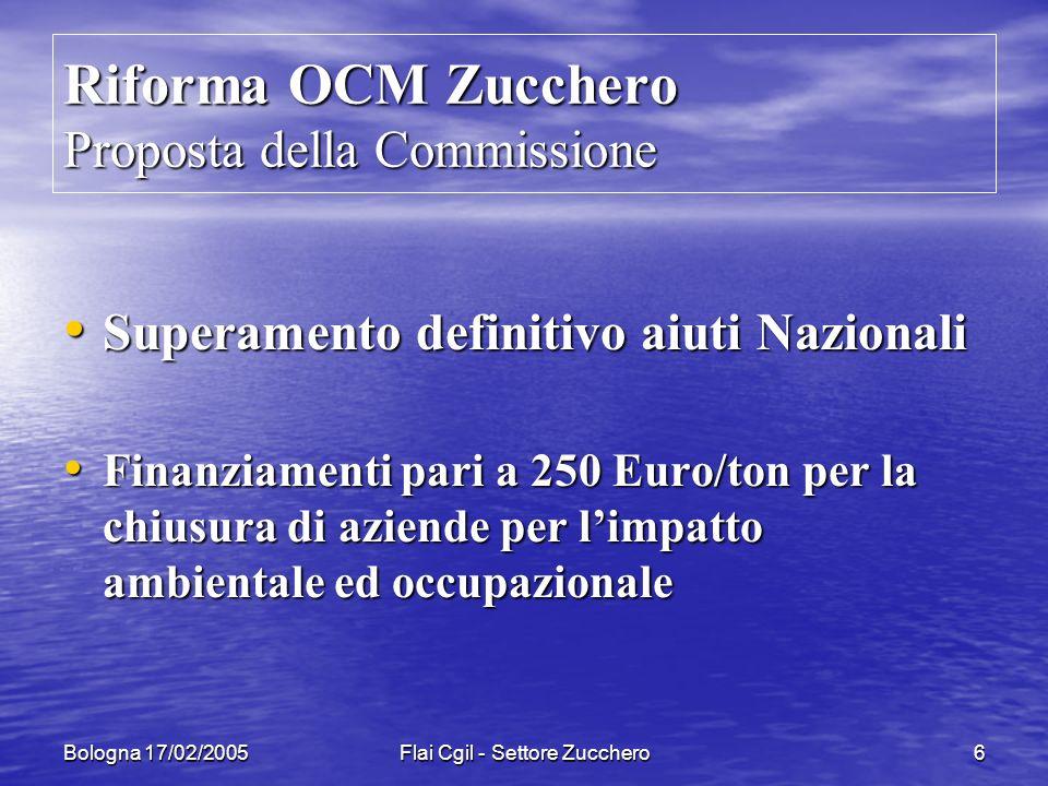 Bologna 17/02/2005Flai Cgil - Settore Zucchero7 Riforma OCM Zucchero Riduzione dei prezzi: Riduzione dei prezzi: Zucchero Zucchero da Euro 632 /t a 421/t Euro da Euro 632 /t a 421/t Euro Bietola Bietola da Euro 43,6 /t a 27,4/t Euro da Euro 43,6 /t a 27,4/t Euro Le riduzioni sono previste in due fasi in un arco di tempo di tre anni Le riduzioni sono previste in due fasi in un arco di tempo di tre anni