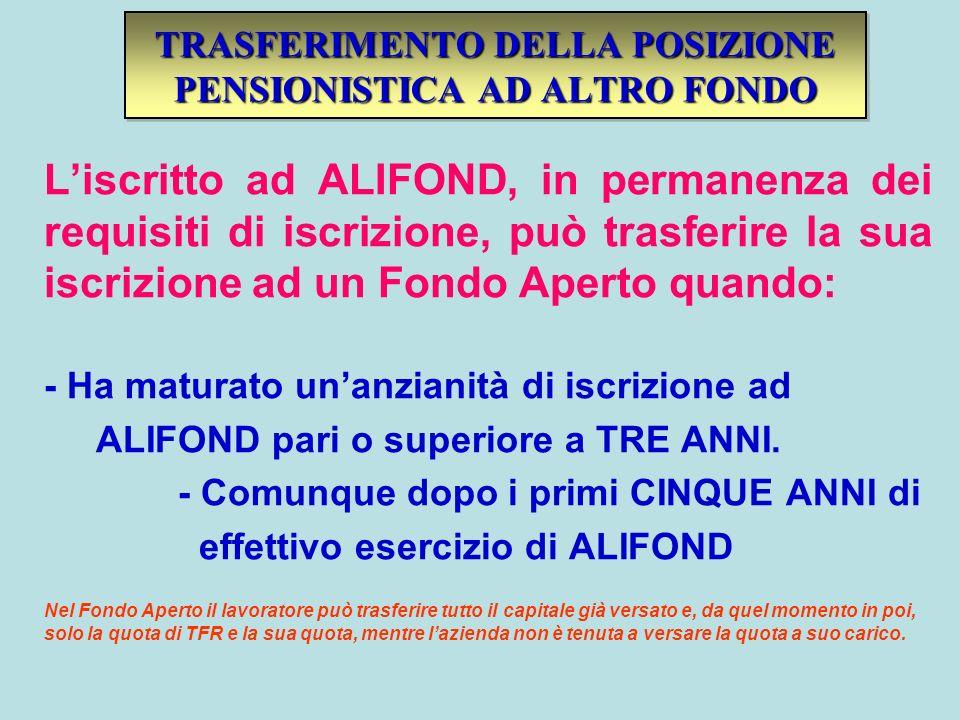 TRASFERIMENTO DELLA POSIZIONE PENSIONISTICA AD ALTRO FONDO Liscritto ad ALIFOND, in permanenza dei requisiti di iscrizione, può trasferire la sua iscr