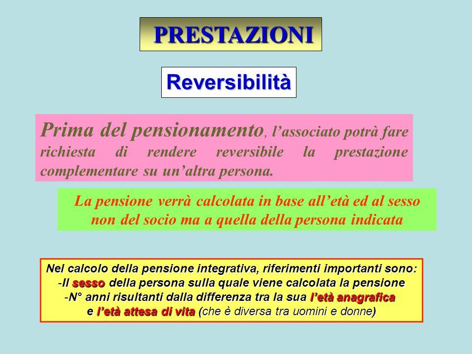 Prima del pensionamento, lassociato potrà fare richiesta di rendere reversibile la prestazione complementare su unaltra persona. PRESTAZIONI PRESTAZIO