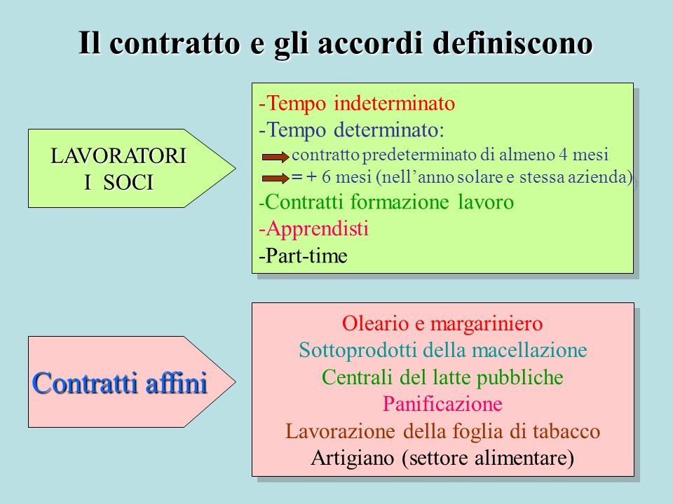 Il contratto e gli accordi definiscono LAVORATORI I SOCI - -Tempo indeterminato - -Tempo determinato: contratto predeterminato di almeno 4 mesi = + 6