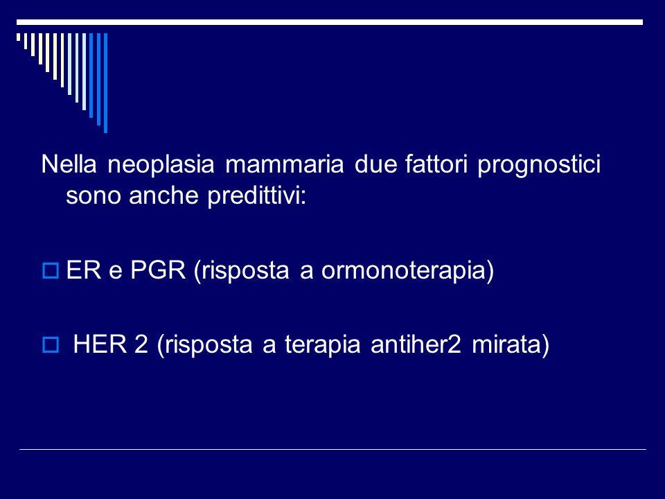 Nella neoplasia mammaria due fattori prognostici sono anche predittivi: ER e PGR (risposta a ormonoterapia) HER 2 (risposta a terapia antiher2 mirata)