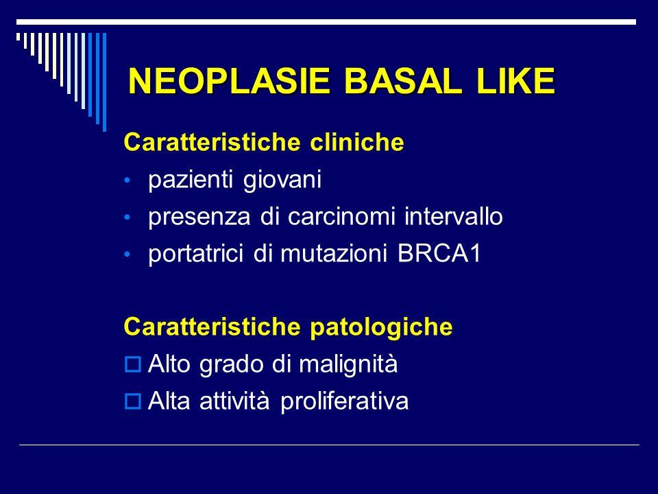 NEOPLASIE BASAL LIKE Caratteristiche cliniche pazienti giovani presenza di carcinomi intervallo portatrici di mutazioni BRCA1 Caratteristiche patologiche Alto grado di malignità Alta attività proliferativa
