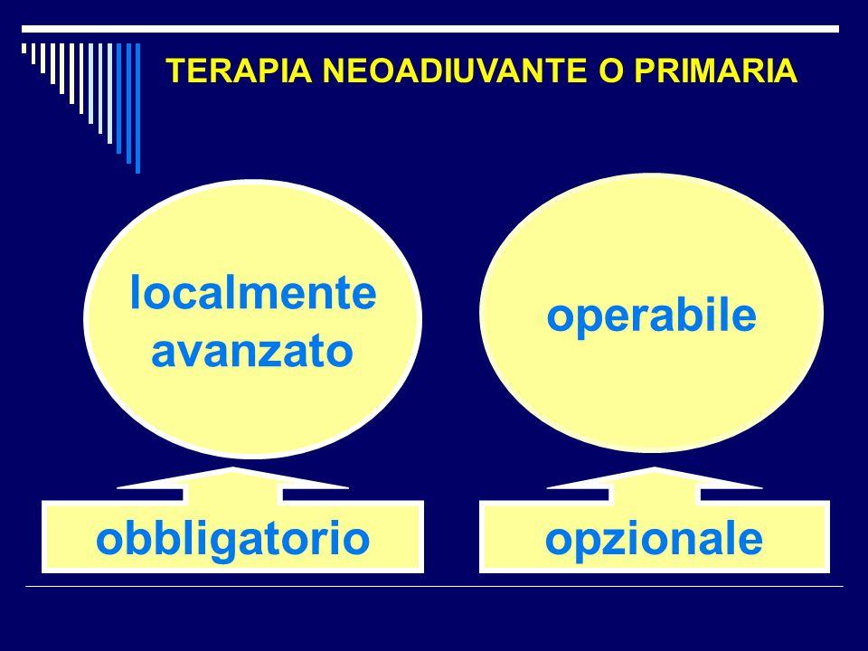 localmente avanzato obbligatorio operabile opzionale TERAPIA NEOADIUVANTE O PRIMARIA