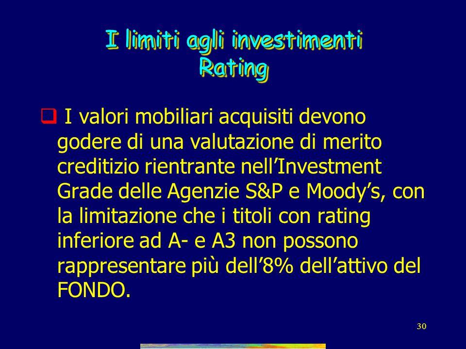 29 I limiti agli investimenti D.M. Tesoro n.703/96