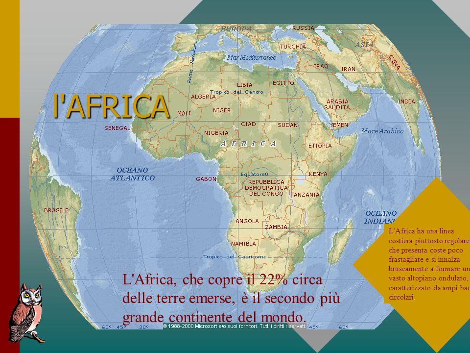 l'AFRICA L'Africa, che copre il 22% circa delle terre emerse, è il secondo più grande continente del mondo. L'Africa ha una linea costiera piuttosto r