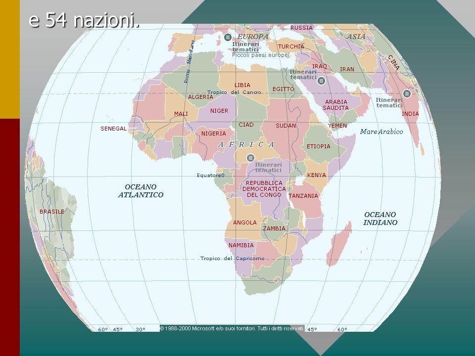 Il continente può essere diviso in tre principali regioni geografiche: l Altopiano settentrionale, Nell Altopiano settentrionale si trova il Sahara, che occupa più di un quarto del territorio dell Africa.
