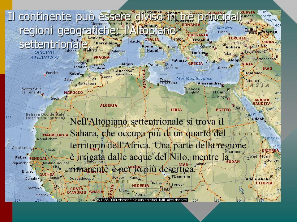Il continente può essere diviso in tre principali regioni geografiche: l'Altopiano settentrionale, Nell'Altopiano settentrionale si trova il Sahara, c