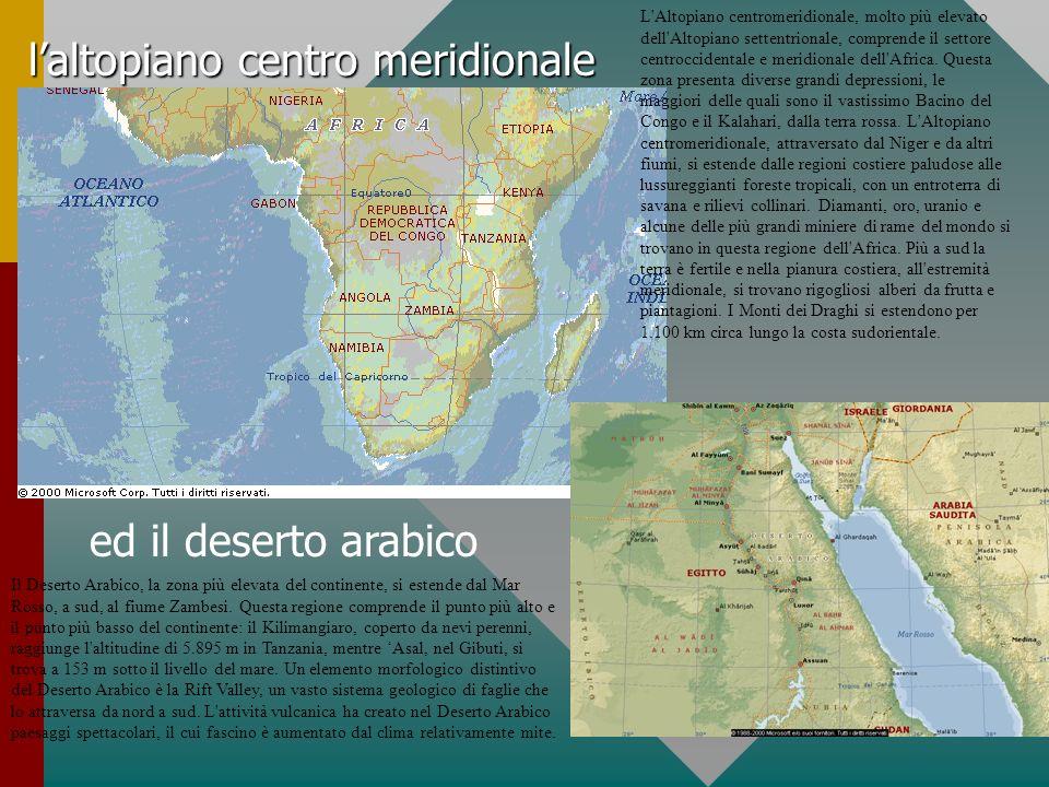 laltopiano centro meridionale ed il deserto arabico L'Altopiano centromeridionale, molto più elevato dell'Altopiano settentrionale, comprende il setto