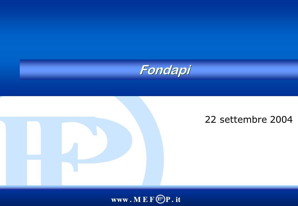 www.M E F P. it 2 Agenda 1. I Fondi pensione: lo scenario attuale e le possibili innovazioni 2.