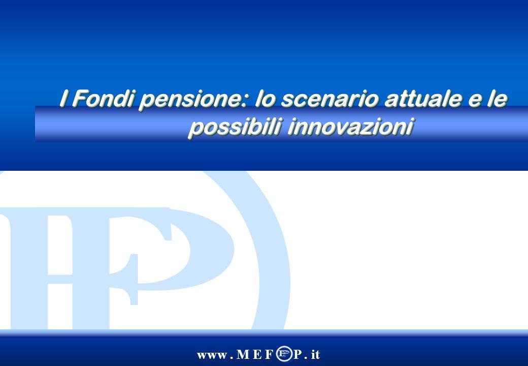 www. M E F P. it I Fondi pensione: lo scenario attuale e le possibili innovazioni
