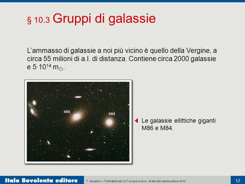 T. Cavattoni - lUniverso età 13,7 miliardi di anni - © Italo Bovolenta editore 2010 12 § 10.3 Gruppi di galassie Lammasso di galassie a noi più vicino