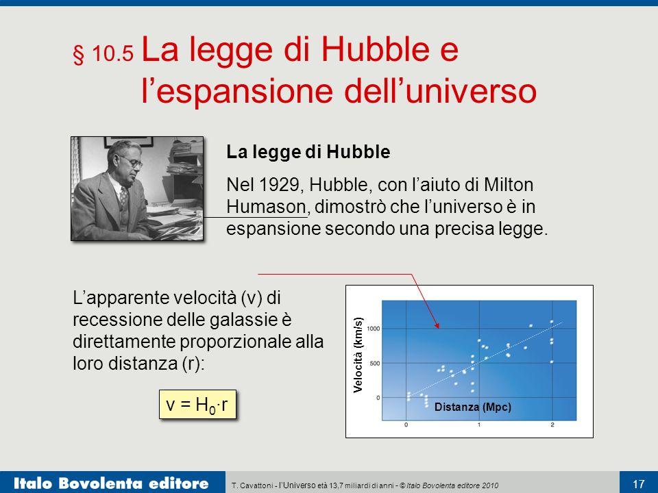 T. Cavattoni - lUniverso età 13,7 miliardi di anni - © Italo Bovolenta editore 2010 17 § 10.5 La legge di Hubble e lespansione delluniverso La legge d