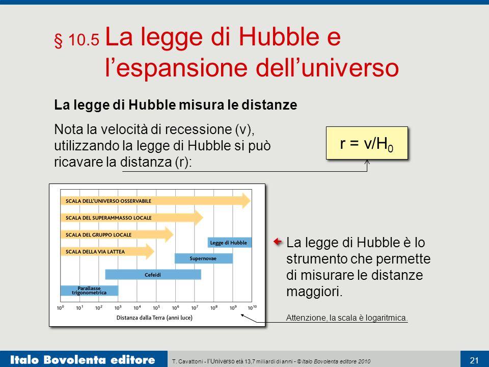 T. Cavattoni - lUniverso età 13,7 miliardi di anni - © Italo Bovolenta editore 2010 21 § 10.5 La legge di Hubble e lespansione delluniverso La legge d
