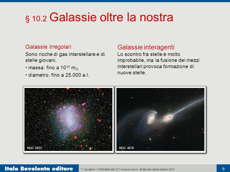 T. Cavattoni - lUniverso età 13,7 miliardi di anni - © Italo Bovolenta editore 2010 9 § 10.2 Galassie oltre la nostra Galassie irregolari Sono ricche
