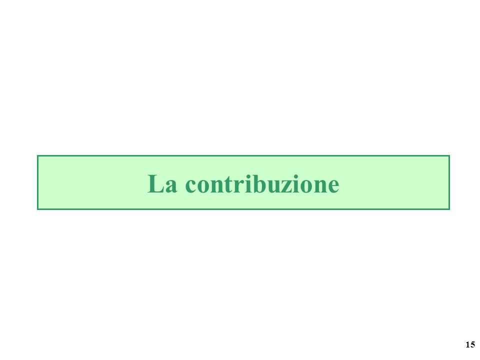 15 La contribuzione