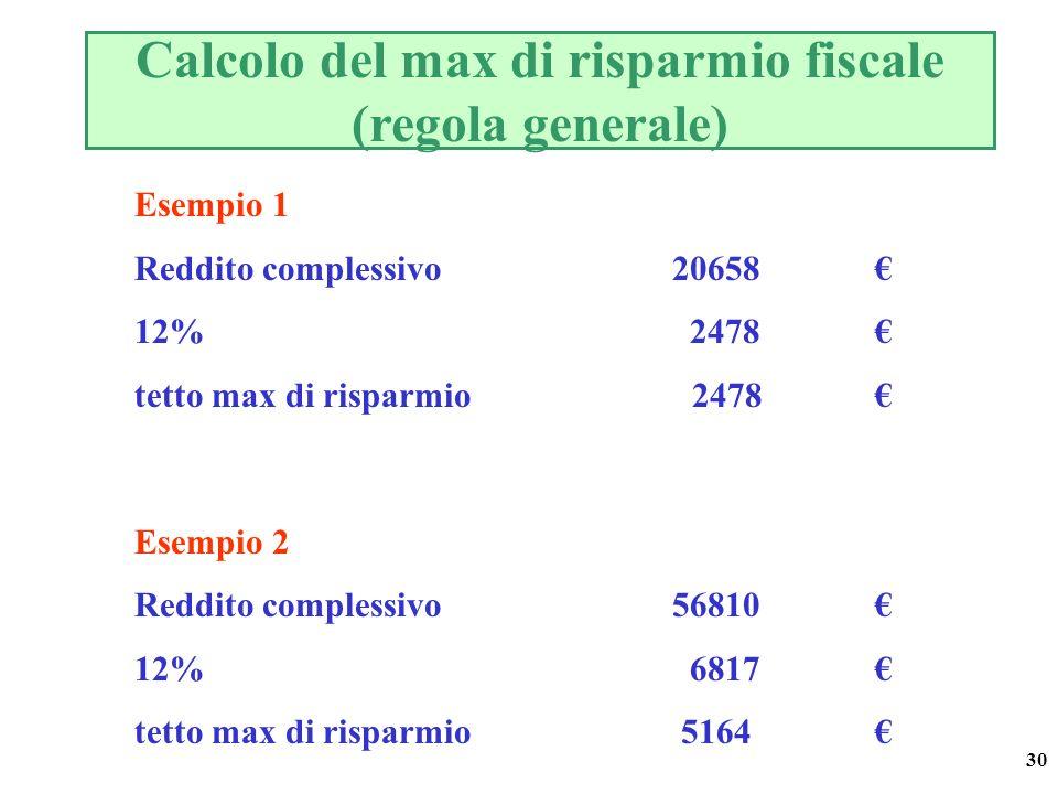 30 Calcolo del max di risparmio fiscale (regola generale) Esempio 1 Reddito complessivo 20658 12% 2478 tetto max di risparmio 2478 Esempio 2 Reddito complessivo 56810 12% 6817 tetto max di risparmio 5164
